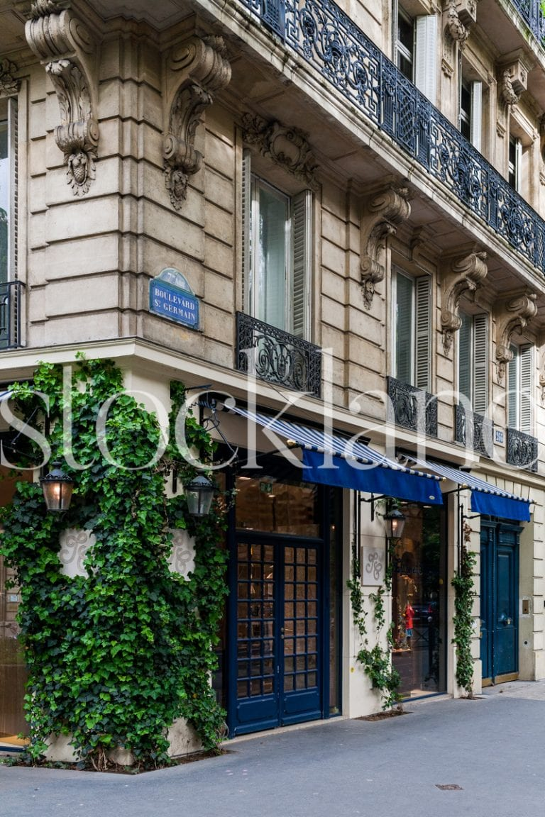 Vertical Stock photo of European streets and storefront