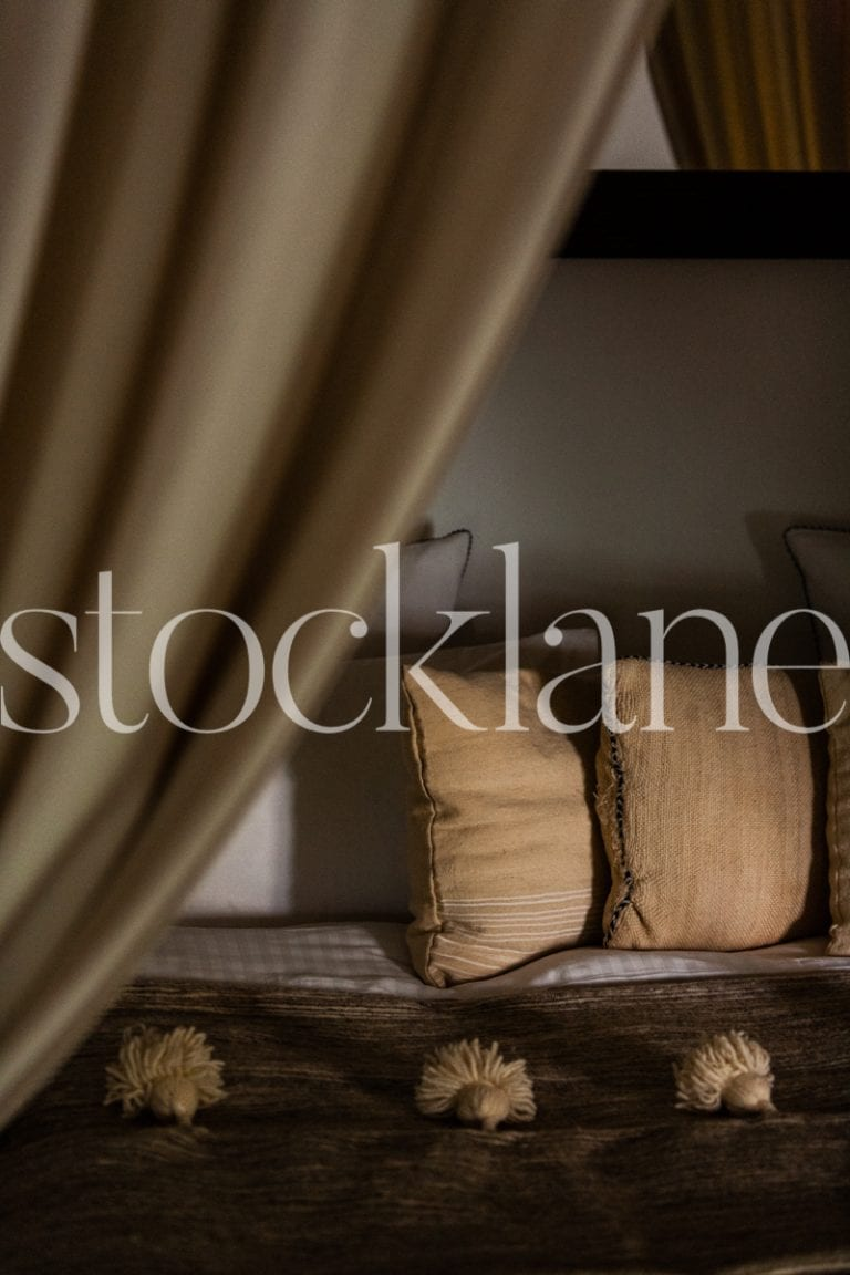 Vertical Stock photo of Moroccan bedroom and decor