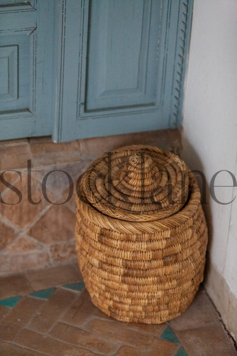 Vertical stock photo of Moroccan basket