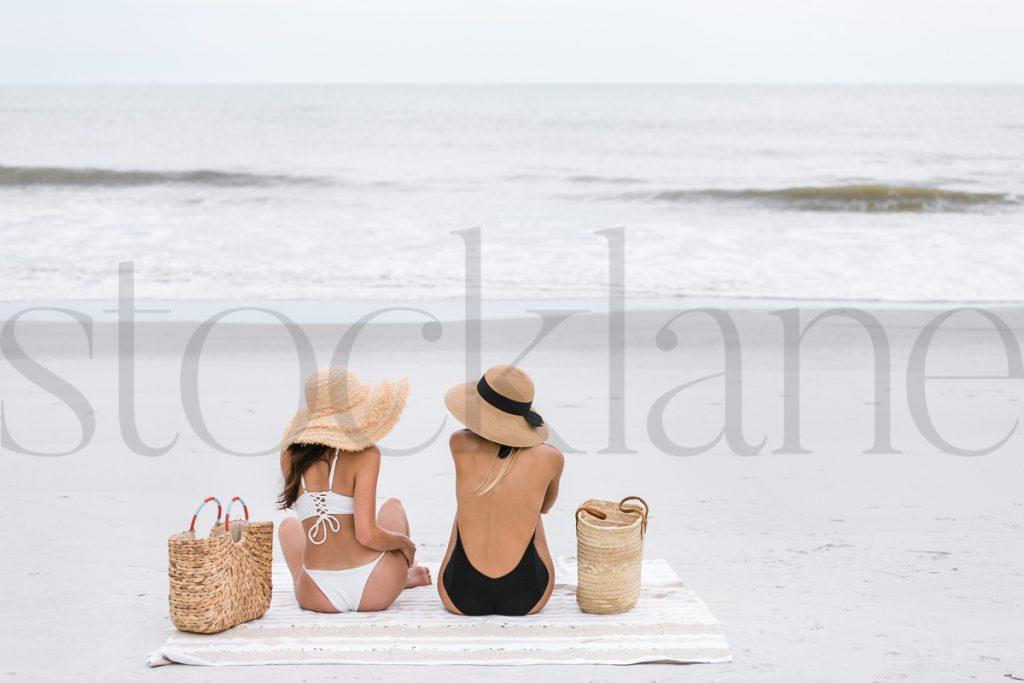 Horizontal stock photo of two women at the beach