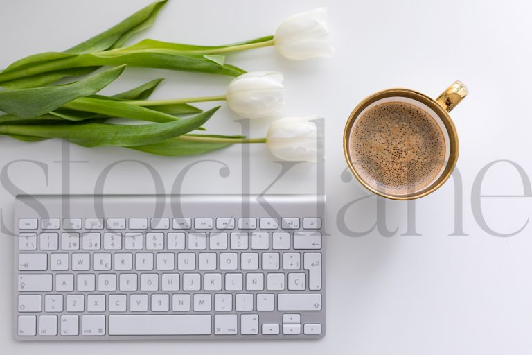 Horizontal stock photo of feminine desktop