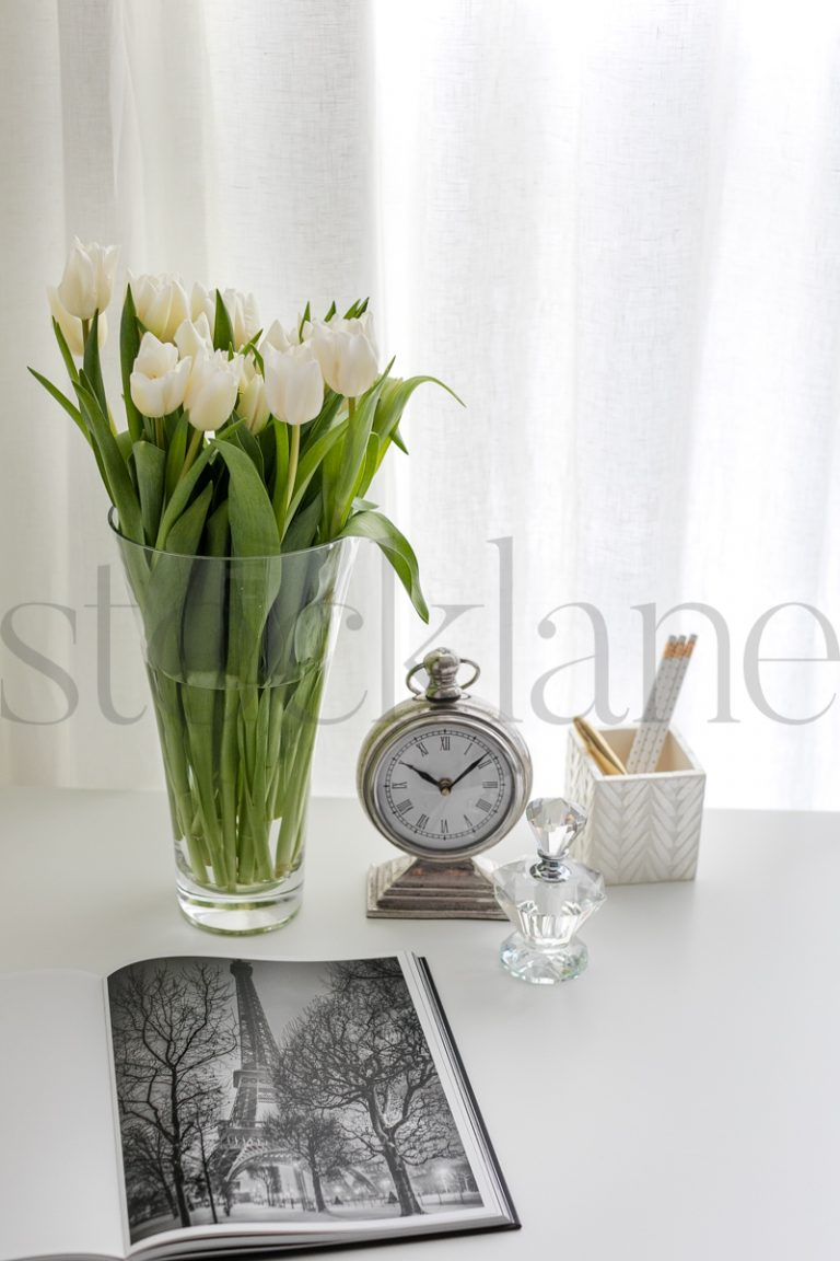 Vertical stock photo of flowers in vase