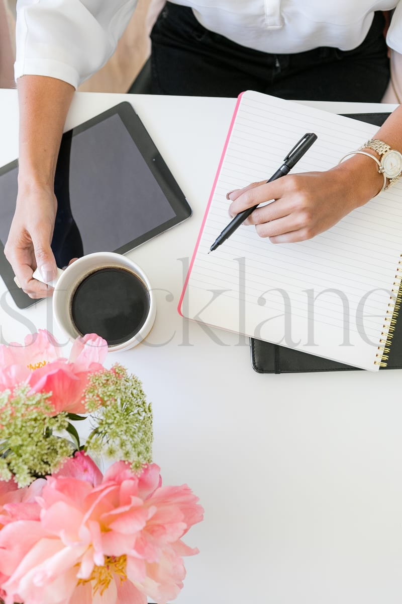 Vertical Stock photo with woman and coffee