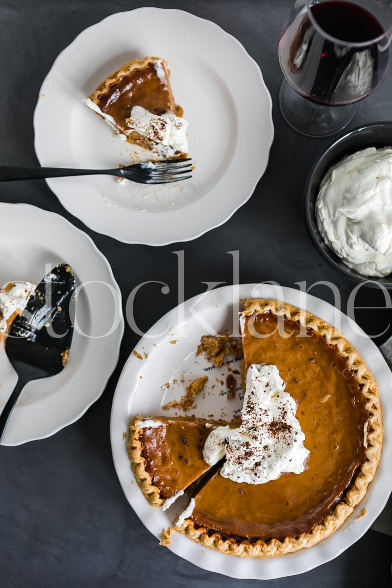 Vertical stock photo of pumpkin pie