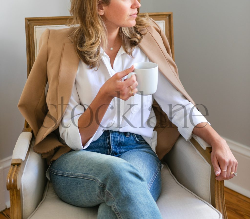 Square stock photo of woman drinking coffee