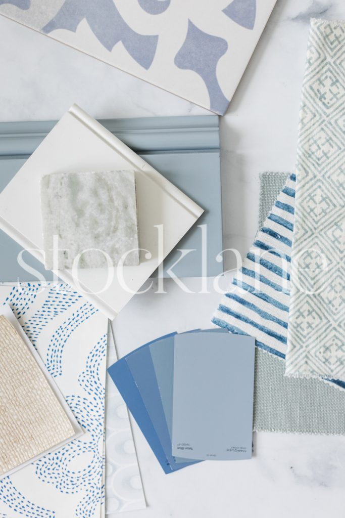 Vertical stock photo of designer blue desktop