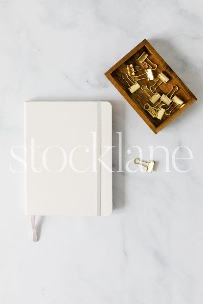 Vertical stock photo of neutral desktop