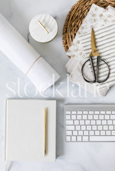 Vertical stock photo of designer neutral desktop