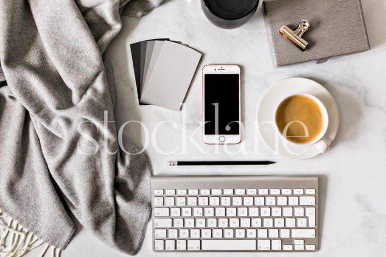Horizontal stock photo of a desktop