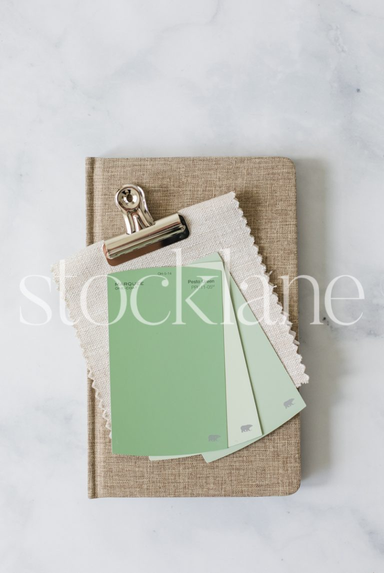 Vertical stock photo a desktop with color swatches