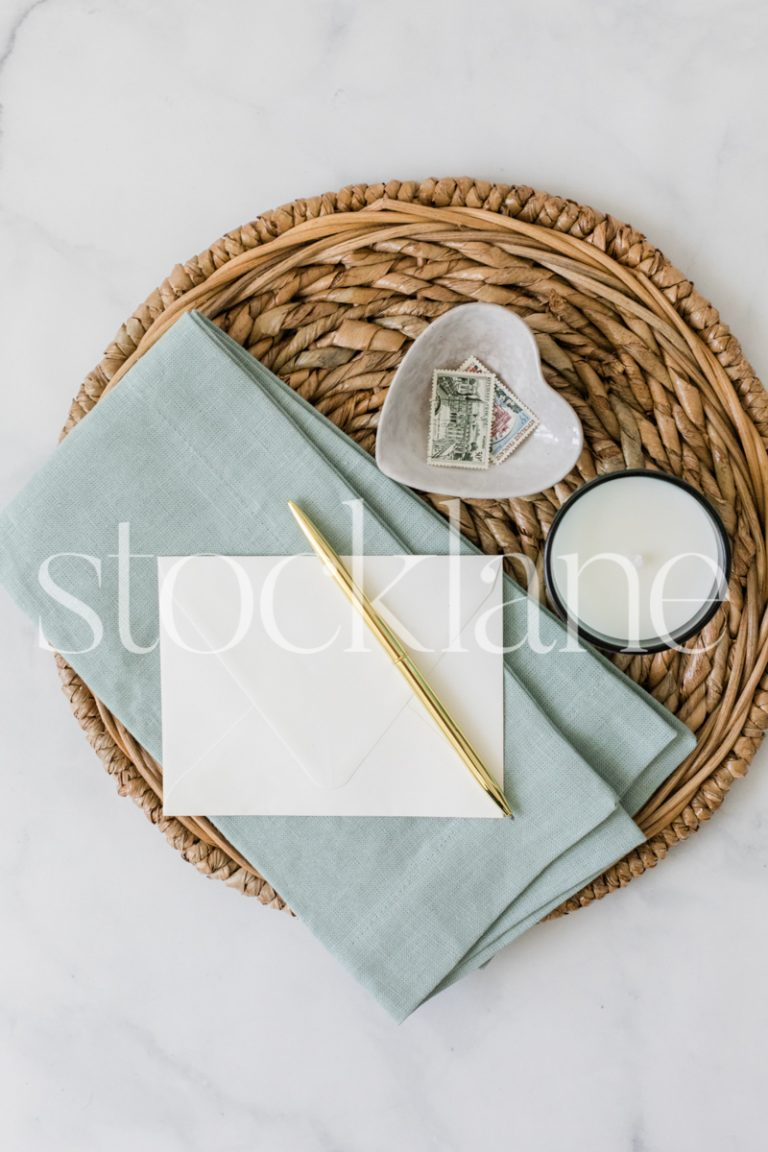 Vertical stock photo of a flat lay