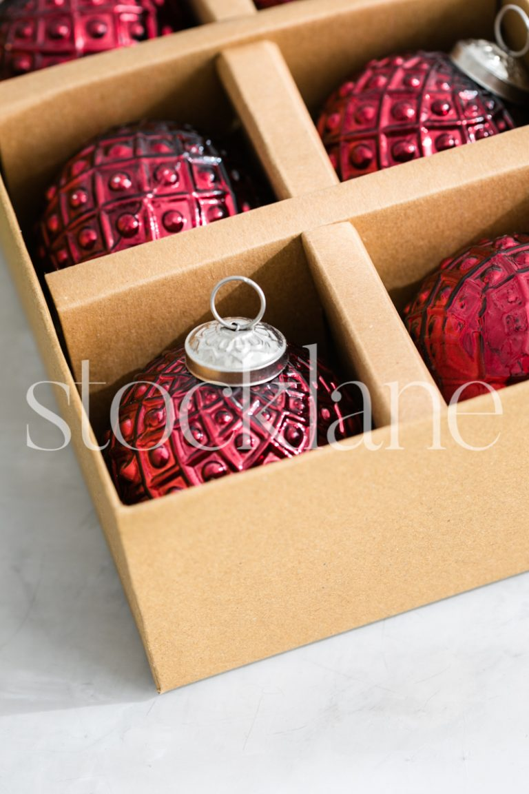 Vertical stock photo of Christmas ornaments