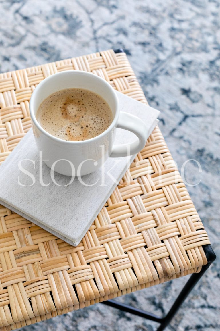 Vertical stock photo overview of a cup of coffee