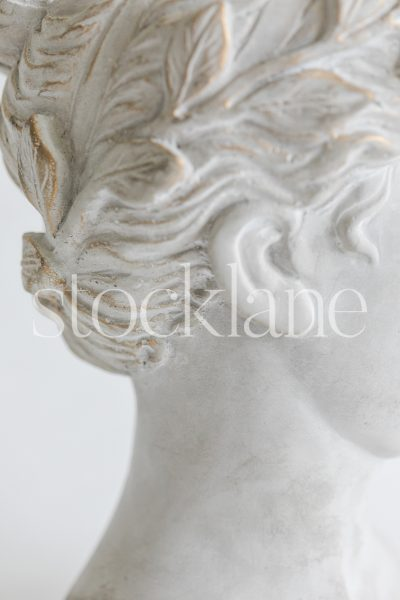 Vertical stock photo of a woman head sculpture