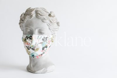 Horizontal stock photo of a woman head sculpture with a floral mask.